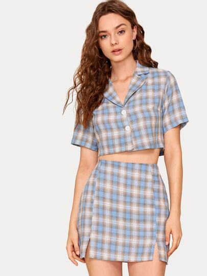 Tartan Notched Collar Crop Shirt & Skirt