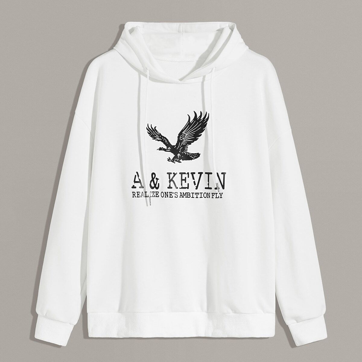 Men Letter And Eagle Print Hooded Sweatshirt