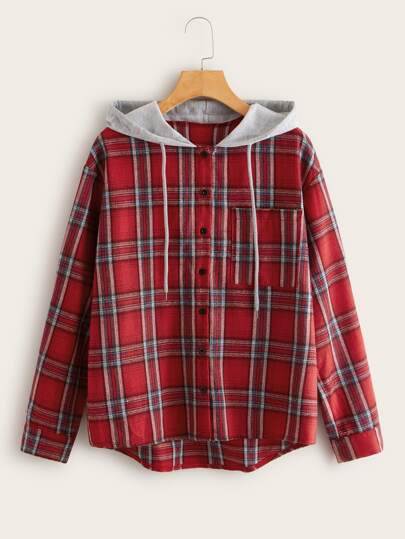 Plaid Pocket Front Hooded Blouse