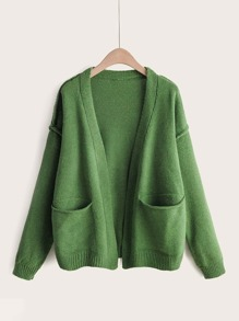 Solid Dual Pockets Drop Shoulder Cardigan