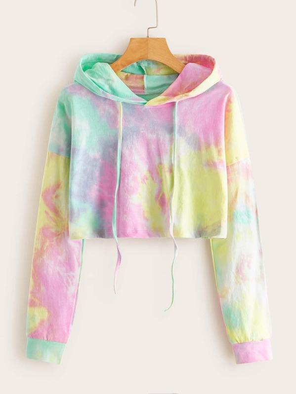 Tie Dye Drawstring Drop Shoulder Hoodie by Sheinside