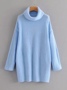 High Neck Drop Shoulder Rib-knit Sweater