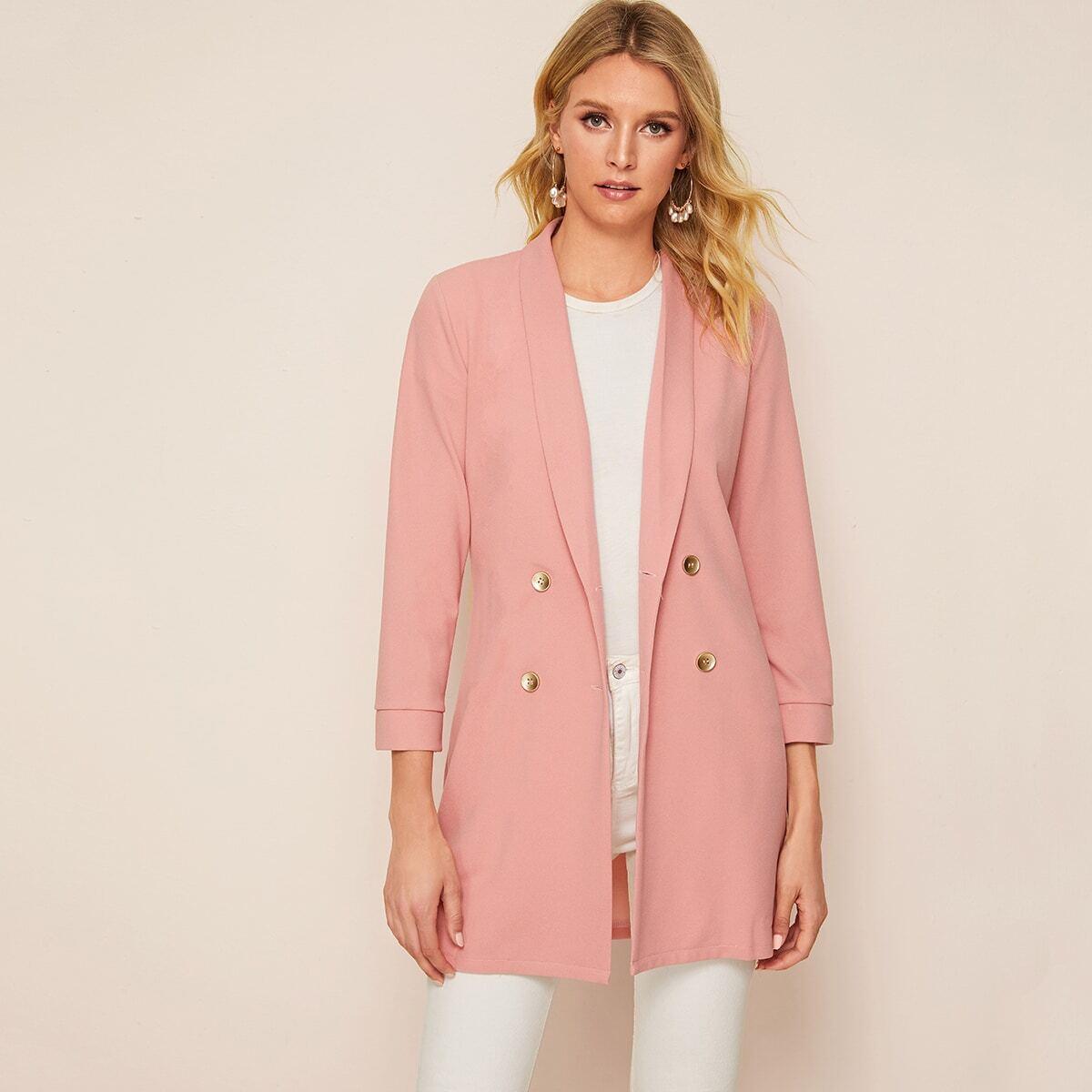 Roze  Elegant Vlak Blazers Dubbele knoop
