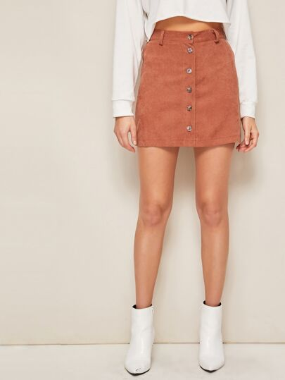 Solid Button Front Corduroy Skirt