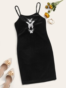 Butterfly Embroidery Velvet Cami Dress