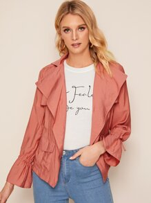 Drawstring Cuff Dual Pocket Solid Jacket