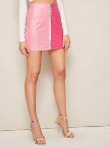 Zip Up Two Tone PU Skirt