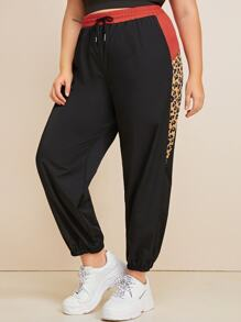 Plus Leopard Colorblock Drawstring Pants