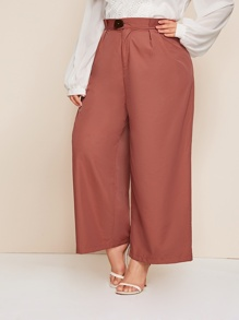 Plus Button Front Wide Leg Pants