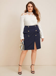 Plus Striped Double Breasted Split Skirt