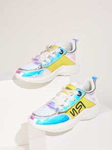 Lace-up Front Holographic Panel Glitter Trainers