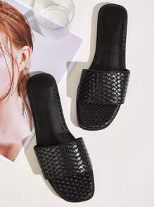 Open Toe Braided Flat Sliders