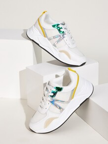 Lace-up Front Holographic Detail Trainers