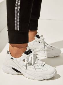 Lace-up Front Zip Decor Trainers