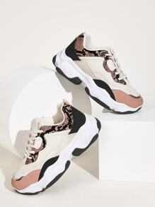 Snakeskin Panel Chunky Sole Trainers