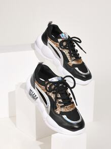 Lace-up Front Glitter Detail Trainers