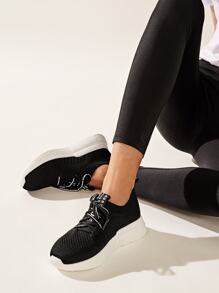 Lace-up Front Knit Trainers
