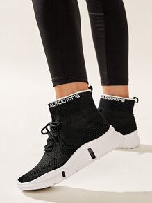 Lace-up Front High Top Trainers