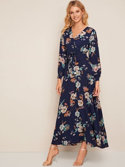 Ditsy Floral Print Surplice Belted Dress