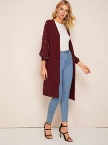 Pearls Dropped Shoulder Longline Cardigan