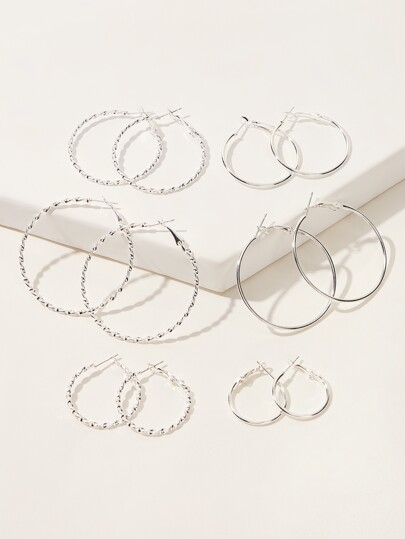 Textured Metal Hoop Earrings Set 6pairs