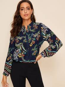 Notch Neck Floral Print Button Front Blouse