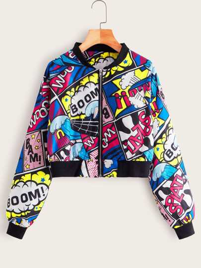 Comic Print Crop Bomber Jacket