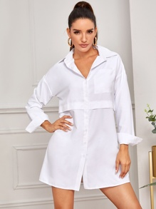Drop Shoulder Solid Button Front Shirt Dress