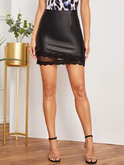 PU Contrast Lace Bodycon Skirt
