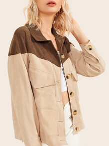 Dual Flap Front Two Tone Corduroy Jacket