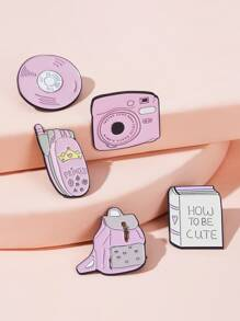 Cartoon Camera & Backpack Shaped Brooch 5pcs