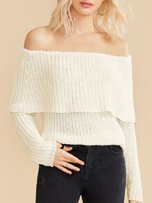 Solid Off Shoulder Pointelle Knit Sweater