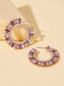 Gemstone & Rhinestone Engraved Hoop Earrings 1pair