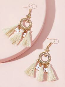 Tassel & Bead Dangle Earrings 1pair