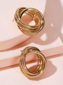 Multi Layer Twisted Ring Design Earrings 1pair
