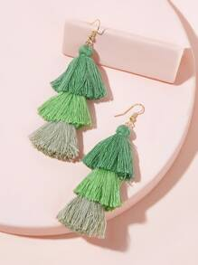Gradient Color Tassel Dangle Earrings 1pair