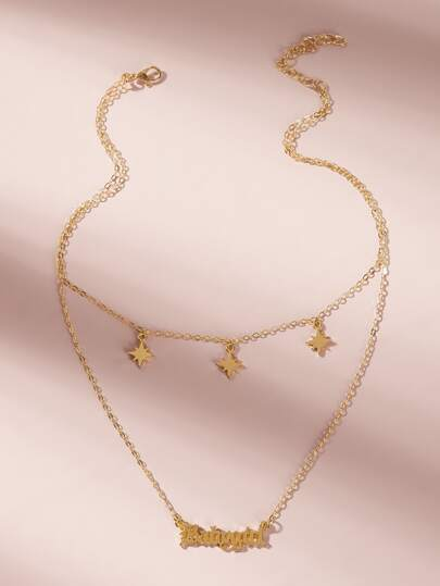 Letter & Star Decor Layered Chain Necklace