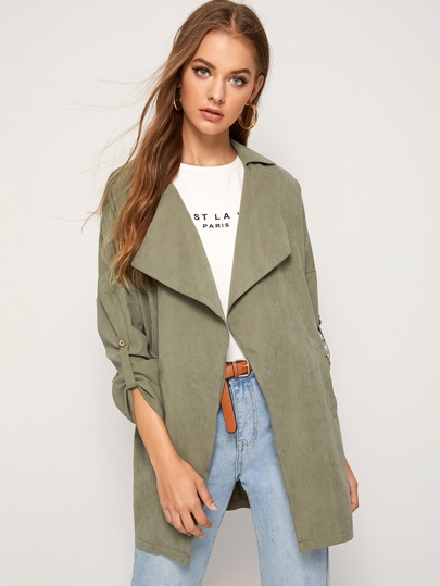Open Front Roll Tab Sleeve Coat