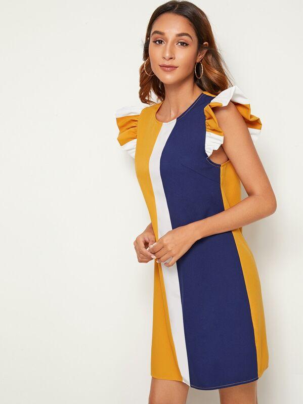 SHEIN Ruffle Armhole Colorblock Tunic Dress