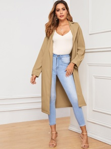 Lapel Collar Self Tie Trench Coat
