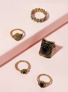 Black Stone Ancient Gold Ring Set 5pcs