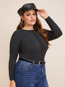 Plus Solid Raglan Sleeve Fitted Jumper