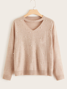 Plus Pearls Beaded Choker Neck Jumper