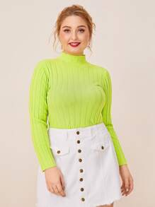 Plus Neon Lime Mock Collar Jumper