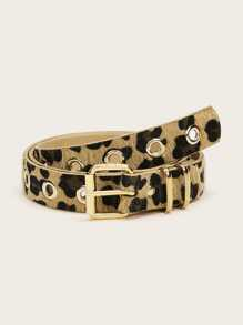 Leopard Pattern Buckle Belt