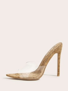 Open Toe Clear Stiletto Heeled Mules
