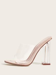 Open Toe Clear Chunky Heeled Mules