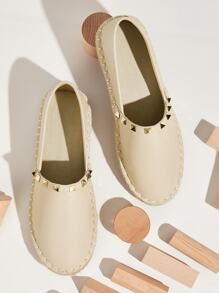 Studded Decor Slip On Flats