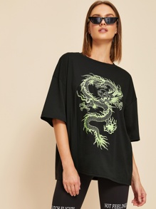 Dragon Print Drop Shoulder Oversized Tee