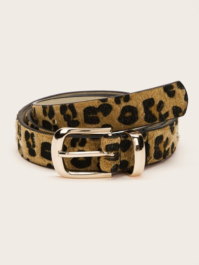 Leopard Pattern Metal Buckle Belt